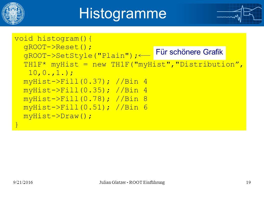 9/21/2016Julian Glatzer - ROOT Einführung19 Histogramme void histogram(){ gROOT->Reset(); gROOT->SetStyle( Plain ); TH1F* myHist = new TH1F( myHist , Distribution , 10,0.,1.); myHist->Fill(0.37); //Bin 4 myHist->Fill(0.35); //Bin 4 myHist->Fill(0.78); //Bin 8 myHist->Fill(0.51); //Bin 6 myHist->Draw(); } Für schönere Grafik