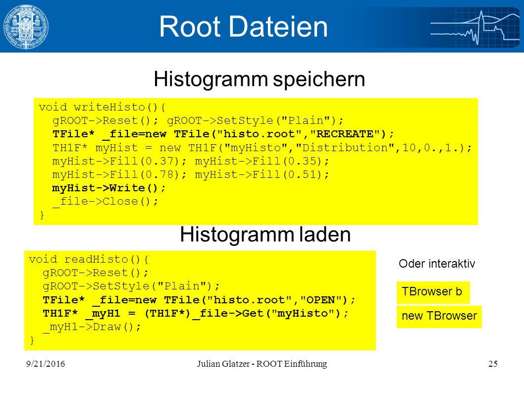 9/21/2016Julian Glatzer - ROOT Einführung25 Root Dateien Histogramm speichern Histogramm laden void readHisto(){ gROOT->Reset(); gROOT->SetStyle(