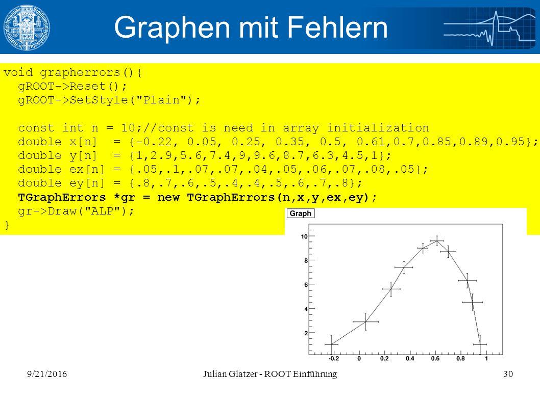 9/21/2016Julian Glatzer - ROOT Einführung30 Graphen mit Fehlern void grapherrors(){ gROOT->Reset(); gROOT->SetStyle(