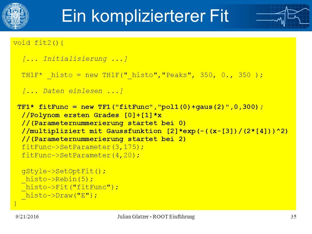 9/21/2016Julian Glatzer - ROOT Einführung35 Ein komplizierterer Fit void fit2(){ [...