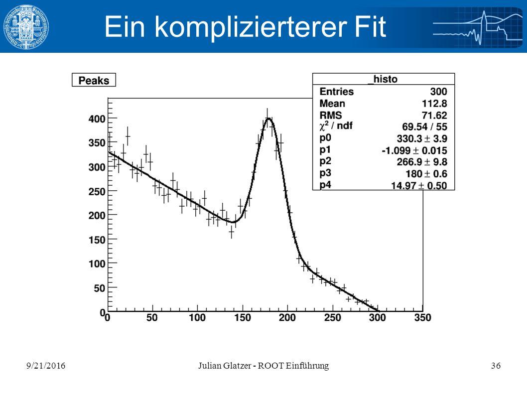 9/21/2016Julian Glatzer - ROOT Einführung36 Ein komplizierterer Fit