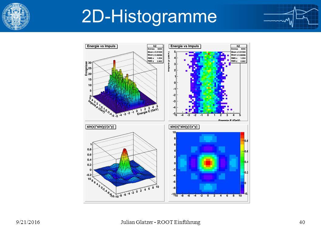 9/21/2016Julian Glatzer - ROOT Einführung40 2D-Histogramme