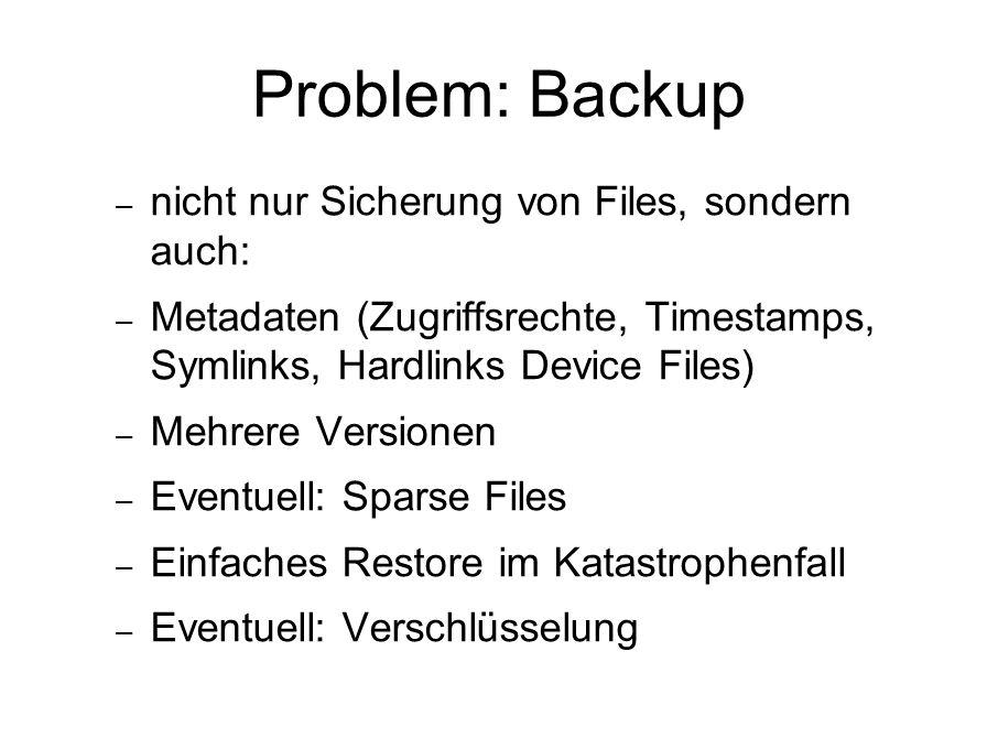 Problem: Backup – nicht nur Sicherung von Files, sondern auch: – Metadaten (Zugriffsrechte, Timestamps, Symlinks, Hardlinks Device Files) – Mehrere Versionen – Eventuell: Sparse Files – Einfaches Restore im Katastrophenfall – Eventuell: Verschlüsselung