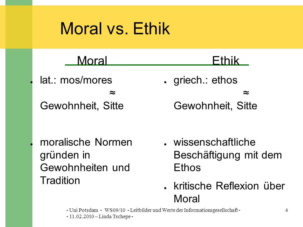 - Uni Potsdam - WS09/10 - Leitbilder und Werte der Informationsgesellschaft - - 11.02.2010 – Linda Tschepe - 4 Moral vs.