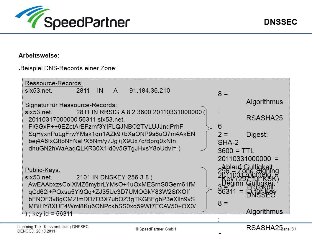 """Lightning Talk: Kurzvorstellung DNSSEC DENOG3, 20.10.2011 Seite: 19 / © SpeedPartner GmbH Links / Hilfen DNSSEC reference card: ● Zum nachschlagen, ausdrucken und verschenken :-) ● Doppelseitig DIN-A5; seit dieser Woche erste """"Beta-Version veröffentlicht http://six53.net/refcar d"""