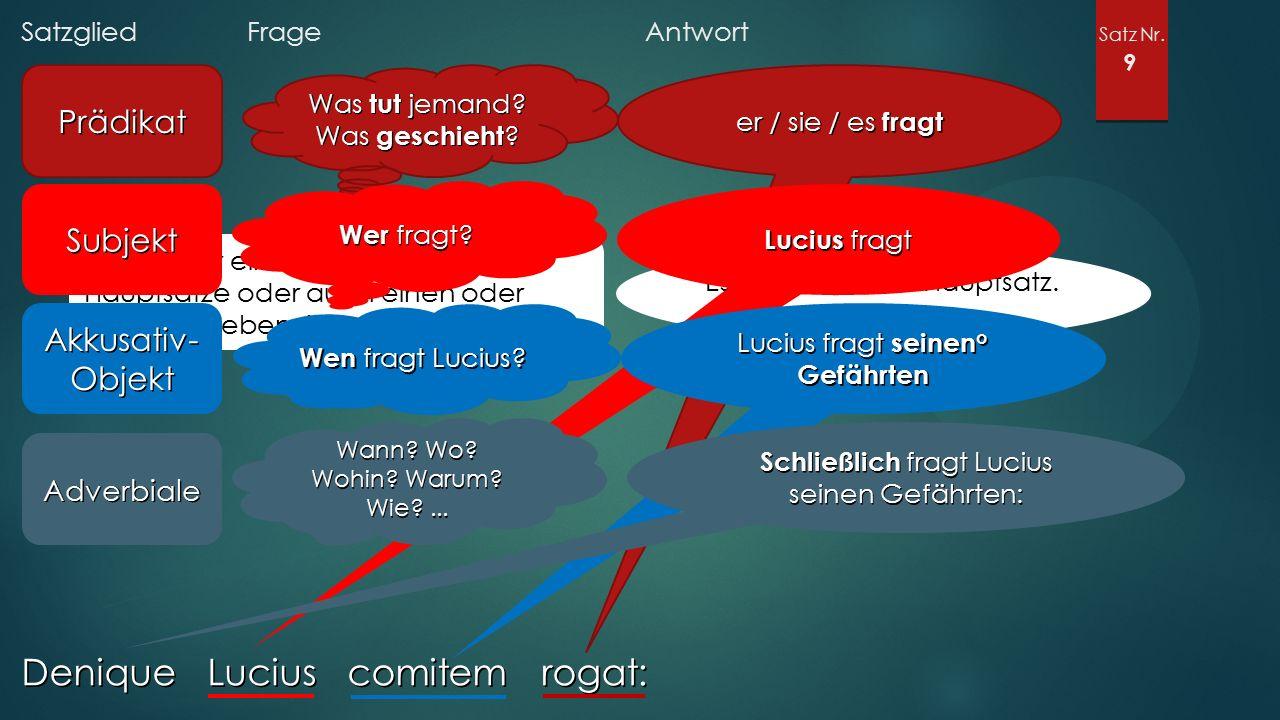 Satzglied Frage Antwort Satz Nr. 9 Denique Lucius comitem rogat: Prädikat Was tut jemand? Was geschieht ? Gibt es nur einen oder mehrere Hauptsätze od