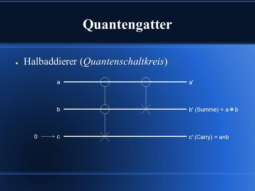 Quantengatter ● Halbaddierer (Quantenschaltkreis) b b (Summe) = a + b a a c c (Carry) = a b 0