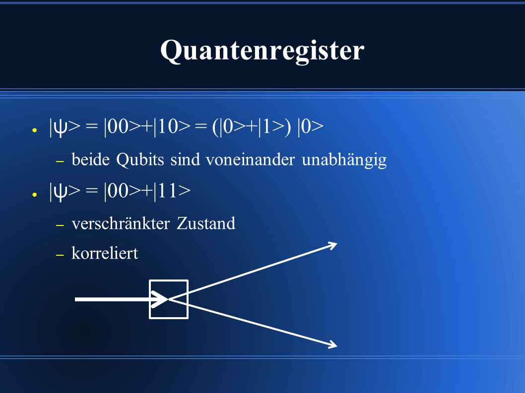 Quantenregister ● | ψ > = |00>+|10> = (|0>+|1>) |0> – beide Qubits sind voneinander unabhängig ● | ψ > = |00>+|11> – verschränkter Zustand – korrelier
