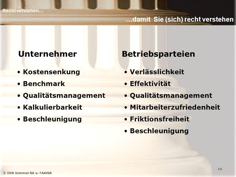 Recht verstehen… …damit Sie (sich) recht verstehen © Dirk Sommer RA u.
