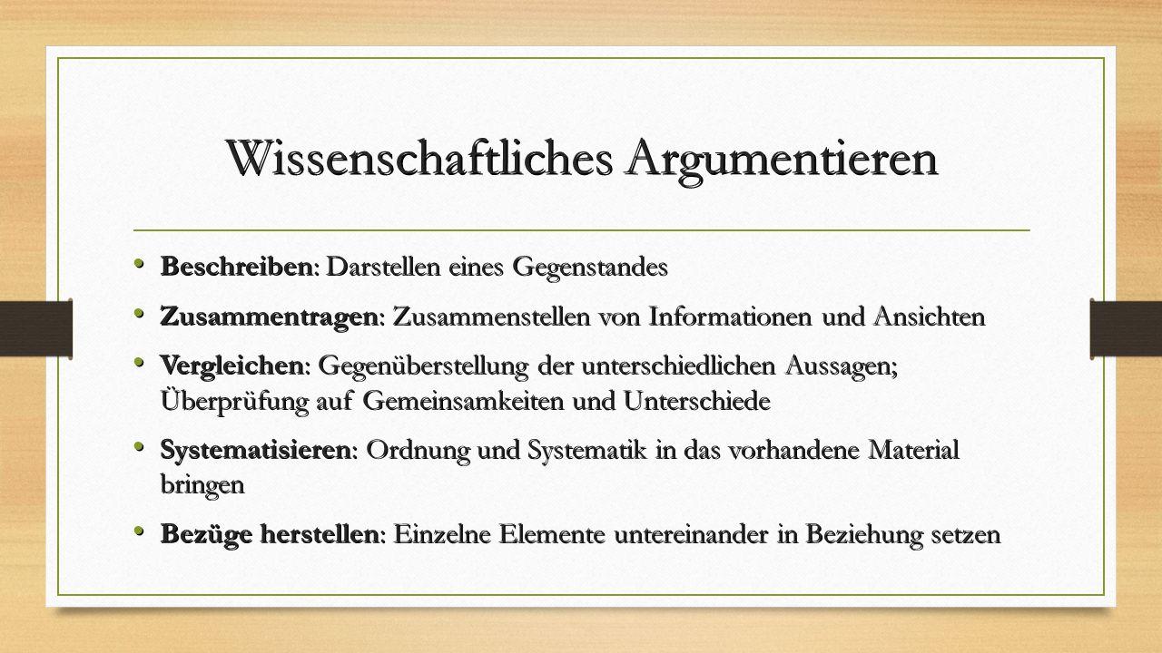 Wissenschaftliches Argumentieren Beschreiben: Darstellen eines Gegenstandes Beschreiben: Darstellen eines Gegenstandes Zusammentragen: Zusammenstellen