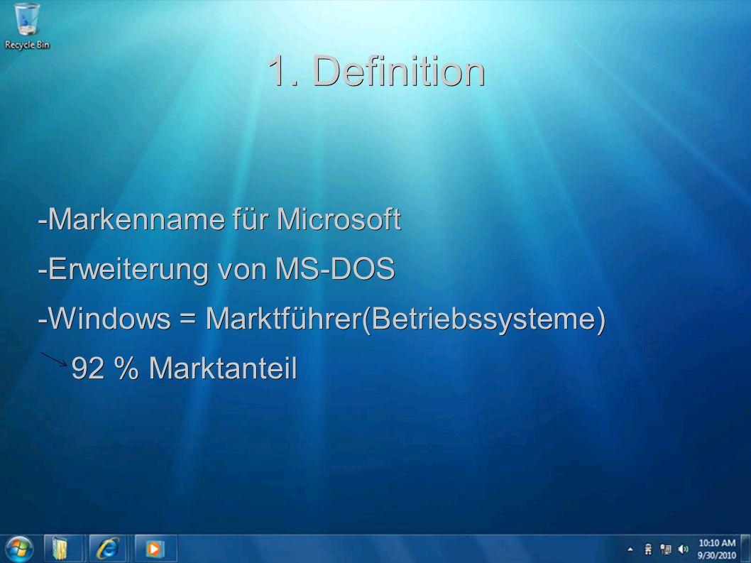1. Definition -Markenname für Microsoft -Erweiterung von MS-DOS -Windows = Marktführer(Betriebssysteme) 92 % Marktanteil 92 % Marktanteil