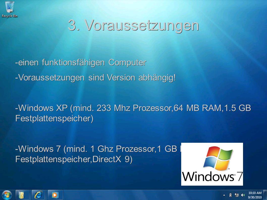 3. Voraussetzungen -einen funktionsfähigen Computer -Voraussetzungen sind Version abhängig! -Windows XP (mind. 233 Mhz Prozessor,64 MB RAM,1.5 GB Fest