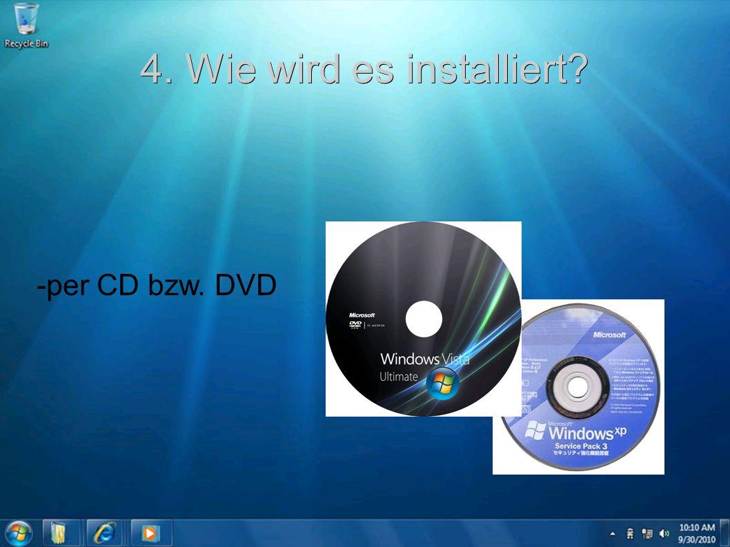 4. Wie wird es installiert? -per CD bzw. DVD