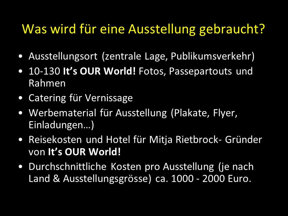 Was wird für eine Ausstellung gebraucht? Ausstellungsort (zentrale Lage, Publikumsverkehr) 10-130 It's OUR World! Fotos, Passepartouts und Rahmen Cate