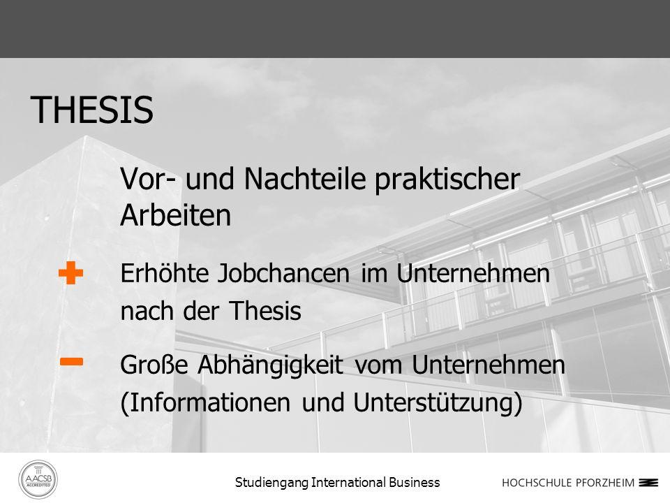 THESIS Vor- und Nachteile praktischer Arbeiten Erhöhte Jobchancen im Unternehmen nach der Thesis Große Abhängigkeit vom Unternehmen (Informationen und Unterstützung) Studiengang International Business