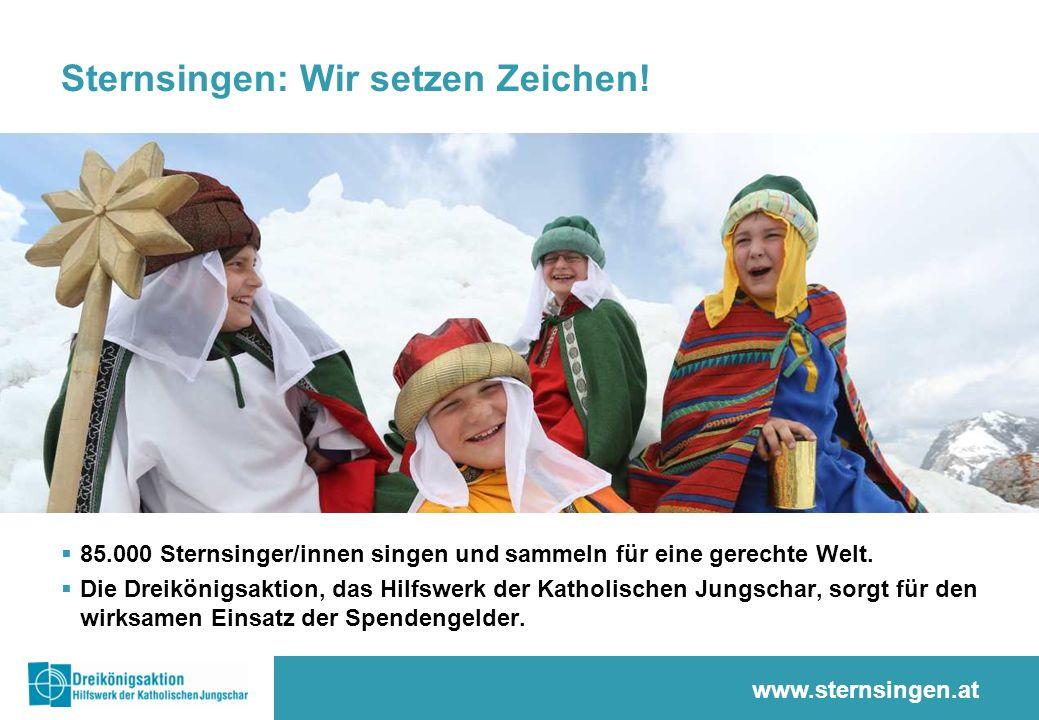 85.000 Sternsinger/innen…  … bringen die Friedensbotschaft und den Segen für das Neue Jahr  … leben Solidarität und Nächstenliebe  … verhelfen notleidenden Menschen zu einem besseren Leben www.dka.at