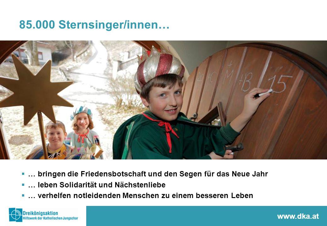 85.000 Sternsinger/innen…  … bringen die Friedensbotschaft und den Segen für das Neue Jahr  … leben Solidarität und Nächstenliebe  … verhelfen notl