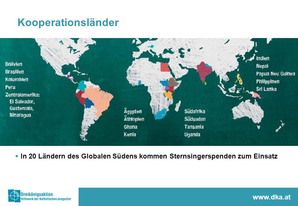 Kooperationsländer  In 20 Ländern des Globalen Südens kommen Sternsingerspenden zum Einsatz www.dka.at