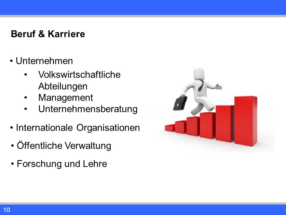 10 Beruf & Karriere Unternehmen Volkswirtschaftliche Abteilungen Management Unternehmensberatung Internationale Organisationen Öffentliche Verwaltung