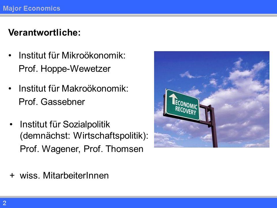 2 Verantwortliche: Institut für Mikroökonomik: Prof. Hoppe-Wewetzer Institut für Makroökonomik: Prof. Gassebner Institut für Sozialpolitik (demnächst: