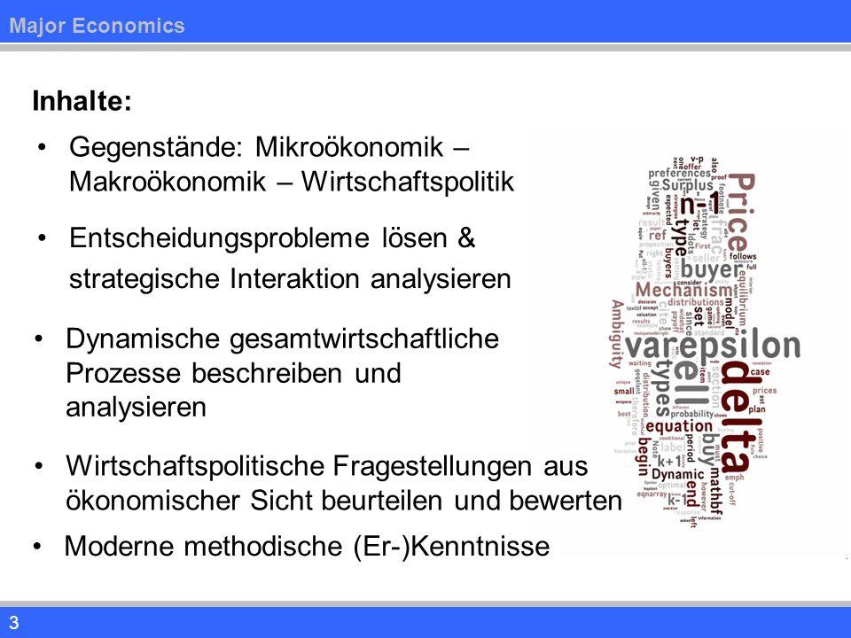 4 Curriculum 1.Mikroökonomische Theorie (2x2 SWS) Industrieökonomik und Innovationstheorie Mikroökonomik der Banken und Finanzmärkte 2.Makroökonomische Theorie (2x2 SWS) Teil I: Konjunktur und Wachstum Teil II: Arbeitslosigkeit, Inflation, Staatsverschuldung