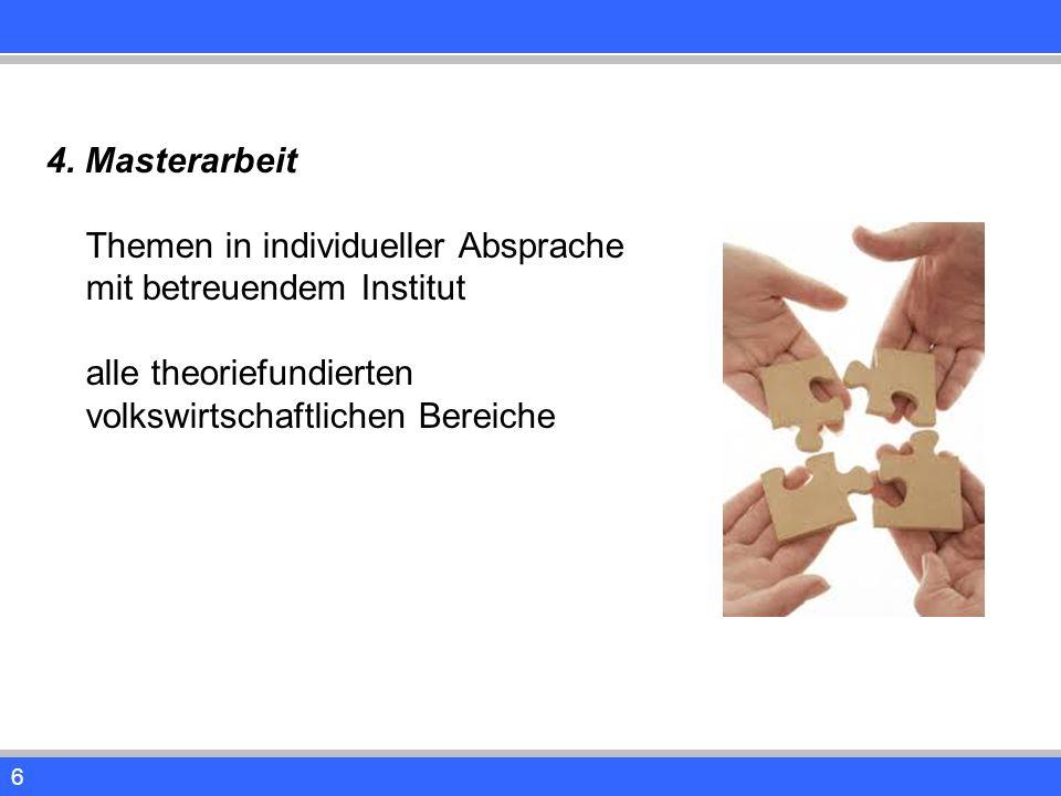 6 4. Masterarbeit Themen in individueller Absprache mit betreuendem Institut alle theoriefundierten volkswirtschaftlichen Bereiche