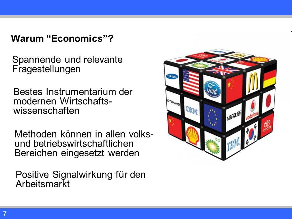 """7 Warum """"Economics""""? Spannende und relevante Fragestellungen Bestes Instrumentarium der modernen Wirtschafts- wissenschaften Methoden können in allen"""