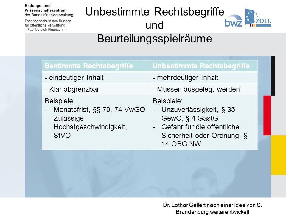 Unbestimmte Rechtsbegriffe und Beurteilungsspielräume Dr.