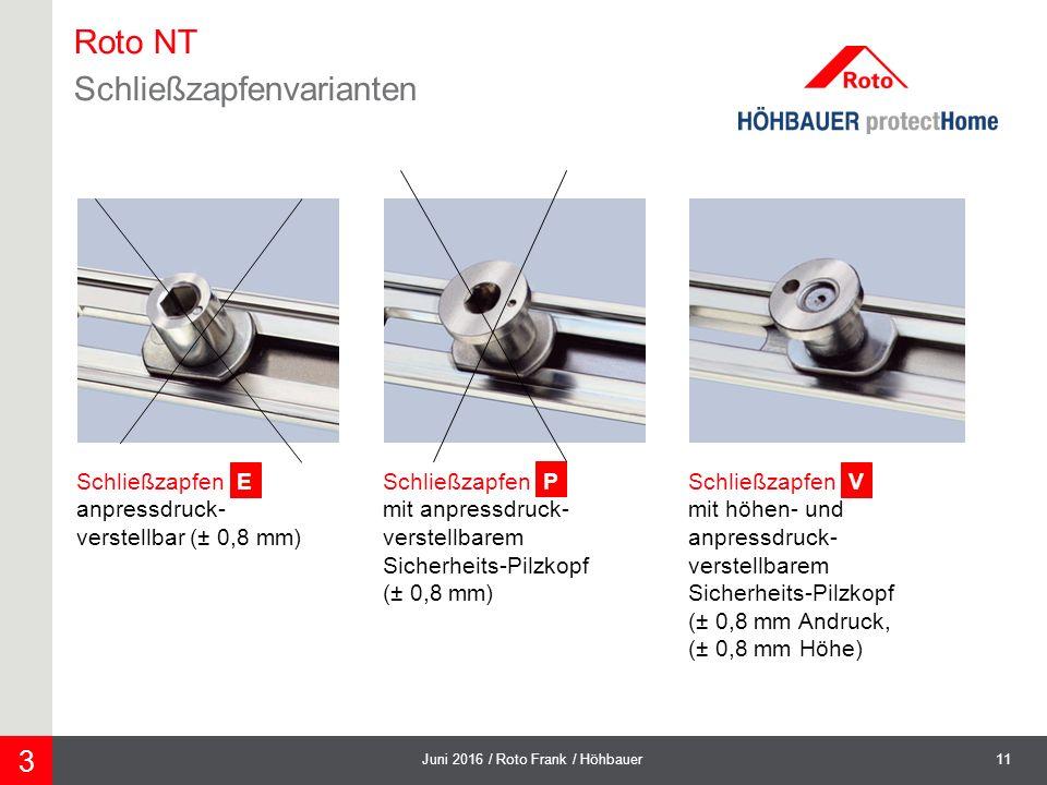 11Juni 2016 / Roto Frank / Höhbauer 3 Schließzapfen V mit höhen- und anpressdruck- verstellbarem Sicherheits-Pilzkopf (± 0,8 mm Andruck, (± 0,8 mm Höhe) Schließzapfen E anpressdruck- verstellbar (± 0,8 mm) Schließzapfen P mit anpressdruck- verstellbarem Sicherheits-Pilzkopf (± 0,8 mm) Roto NT Schließzapfenvarianten