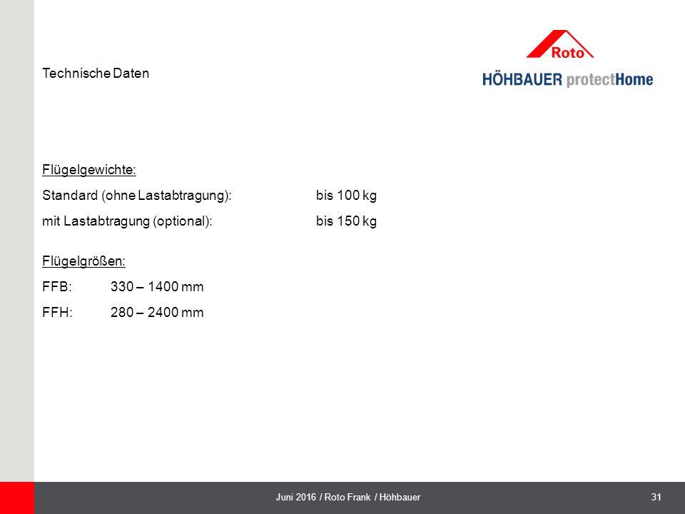31Juni 2016 / Roto Frank / Höhbauer Technische Daten Flügelgewichte: Standard (ohne Lastabtragung): bis 100 kg mit Lastabtragung (optional): bis 150 kg Flügelgrößen: FFB:330 – 1400 mm FFH:280 – 2400 mm