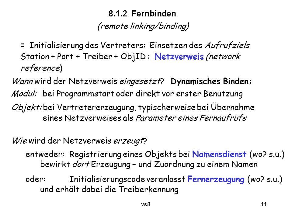 11 vs8 8.1.2 Fernbinden (remote linking/binding) = Initialisierung des Vertreters: Einsetzen des Aufrufziels Station + Port + Treiber + ObjID : Netzve
