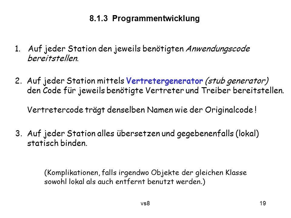 19 vs8 8.1.3 Programmentwicklung 1. Auf jeder Station den jeweils benötigten Anwendungscode bereitstellen. 2. Auf jeder Station mittels Vertretergener