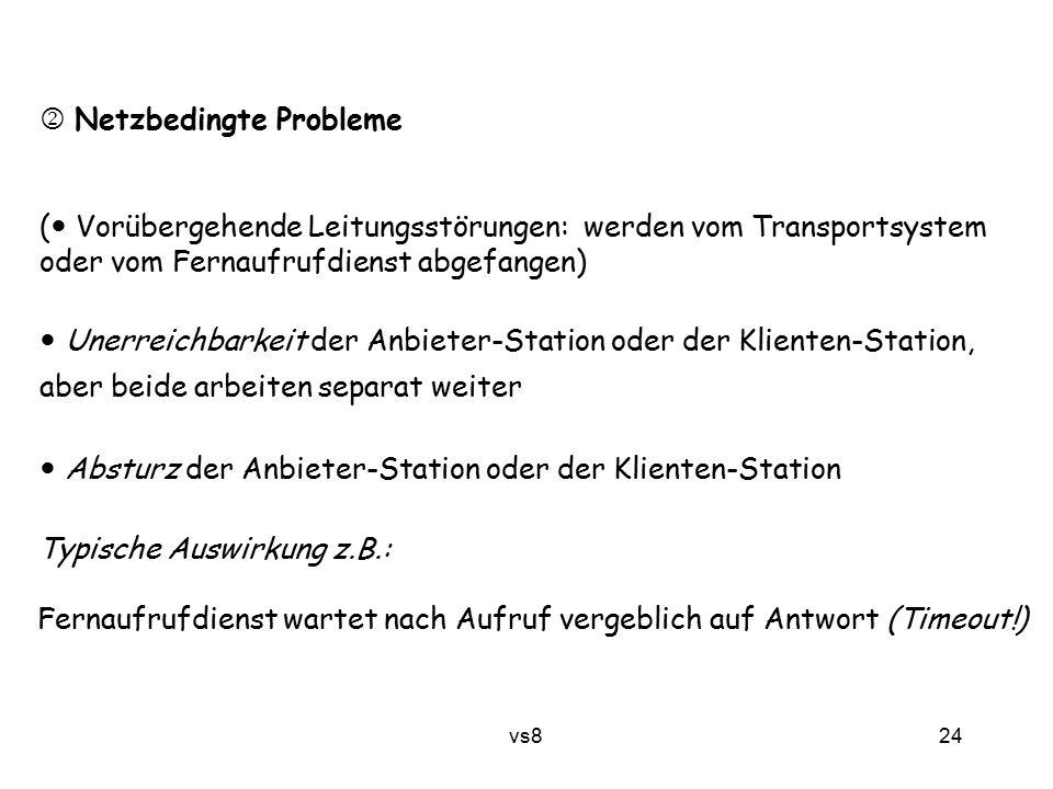 24 vs8  Netzbedingte Probleme ( Vorübergehende Leitungsstörungen: werden vom Transportsystem oder vom Fernaufrufdienst abgefangen) Unerreichbarkeit d