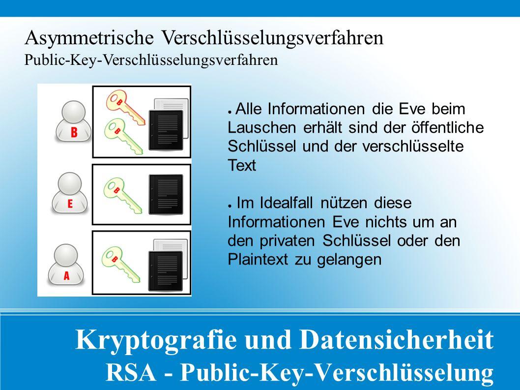 Kryptografie und Datensicherheit RSA - Public-Key-Verschlüsselung Asymmetrische Verschlüsselungsverfahren Public-Key-Verschlüsselungsverfahren ● Alle Informationen die Eve beim Lauschen erhält sind der öffentliche Schlüssel und der verschlüsselte Text ● Im Idealfall nützen diese Informationen Eve nichts um an den privaten Schlüssel oder den Plaintext zu gelangen