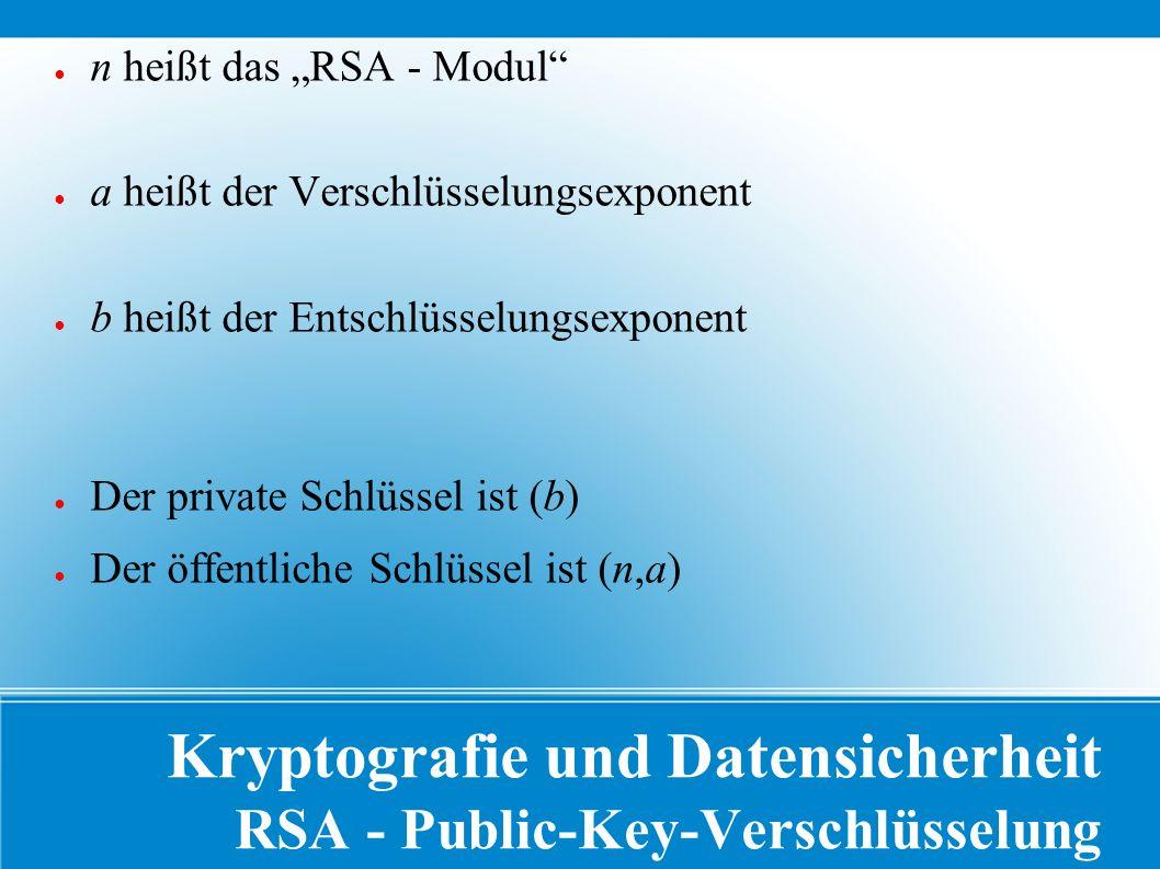 """Kryptografie und Datensicherheit RSA - Public-Key-Verschlüsselung ● n heißt das """"RSA - Modul ● a heißt der Verschlüsselungsexponent ● b heißt der Entschlüsselungsexponent ● Der private Schlüssel ist (b) ● Der öffentliche Schlüssel ist (n,a)"""