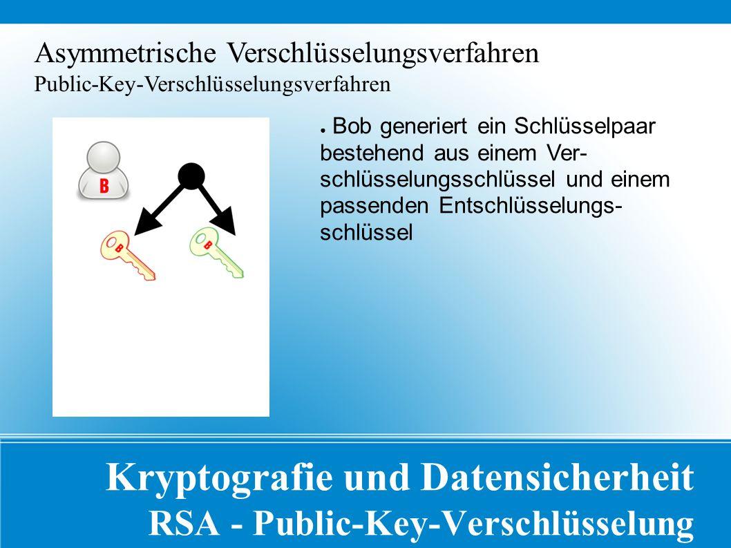 Kryptografie und Datensicherheit RSA - Public-Key-Verschlüsselung Asymmetrische Verschlüsselungsverfahren Public-Key-Verschlüsselungsverfahren ● Bob generiert ein Schlüsselpaar bestehend aus einem Ver- schlüsselungsschlüssel und einem passenden Entschlüsselungs- schlüssel
