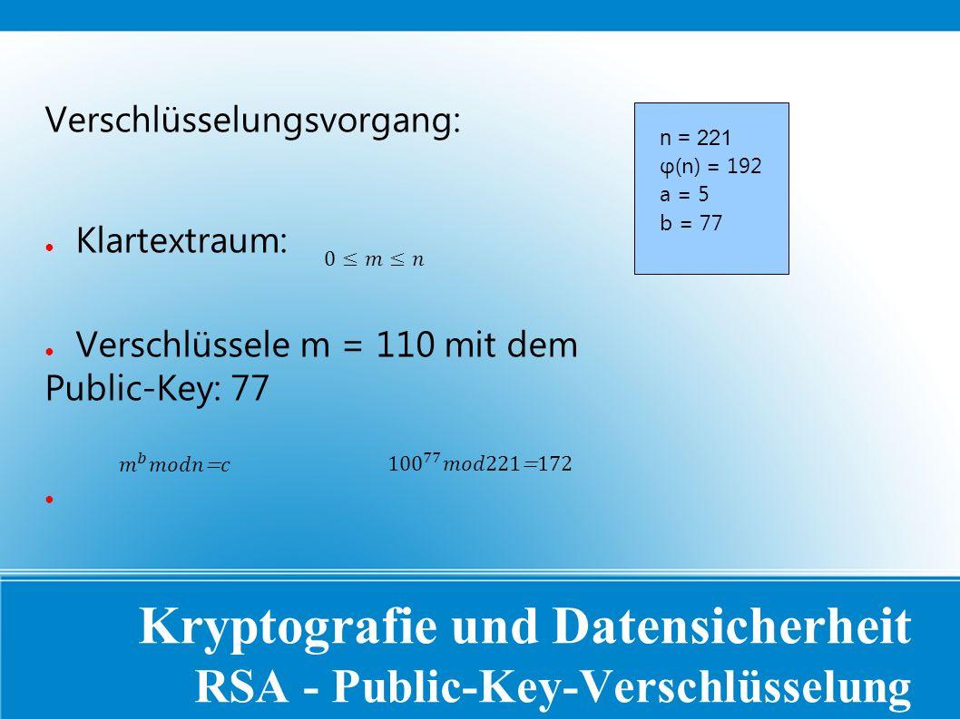Kryptografie und Datensicherheit RSA - Public-Key-Verschlüsselung Verschlüsselungsvorgang: ● Klartextraum: ● Verschlüssele m = 110 mit dem Public-Key: 77 ● n = 221 φ(n) = 192 a = 5 b = 77