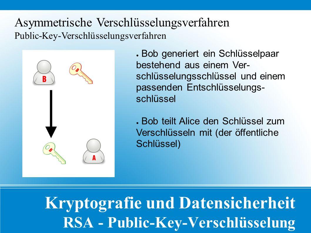 Kryptografie und Datensicherheit RSA - Public-Key-Verschlüsselung Asymmetrische Verschlüsselungsverfahren Public-Key-Verschlüsselungsverfahren ● Bob generiert ein Schlüsselpaar bestehend aus einem Ver- schlüsselungsschlüssel und einem passenden Entschlüsselungs- schlüssel ● Bob teilt Alice den Schlüssel zum Verschlüsseln mit (der öffentliche Schlüssel)