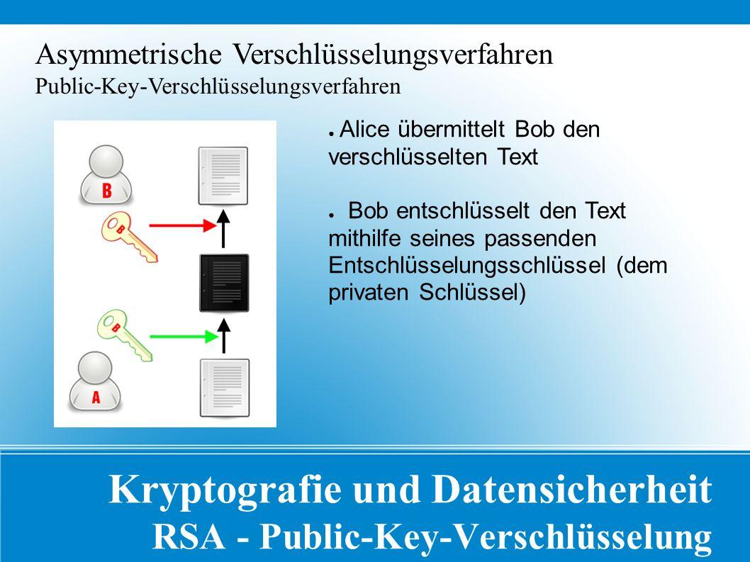 Kryptografie und Datensicherheit RSA - Public-Key-Verschlüsselung Asymmetrische Verschlüsselungsverfahren Public-Key-Verschlüsselungsverfahren ● Alice übermittelt Bob den verschlüsselten Text ● Bob entschlüsselt den Text mithilfe seines passenden Entschlüsselungsschlüssel (dem privaten Schlüssel)