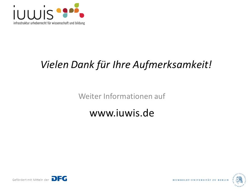 Vielen Dank für Ihre Aufmerksamkeit! Weiter Informationen auf www.iuwis.de