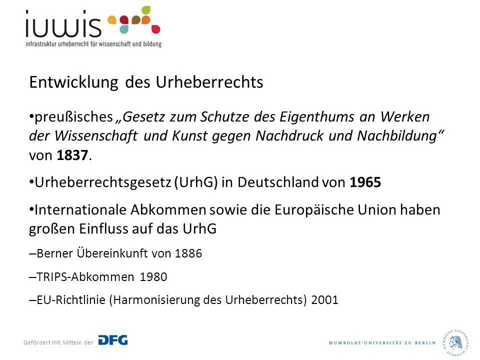 """Gefördert mit Mitteln der Entwicklung des Urheberrechts preußisches """"Gesetz zum Schutze des Eigenthums an Werken der Wissenschaft und Kunst gegen Nachdruck und Nachbildung von 1837."""