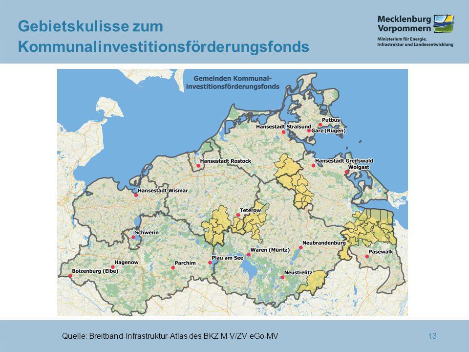 13 Gebietskulisse zum Kommunalinvestitionsförderungsfonds Quelle: Breitband-Infrastruktur-Atlas des BKZ M-V/ZV eGo-MV