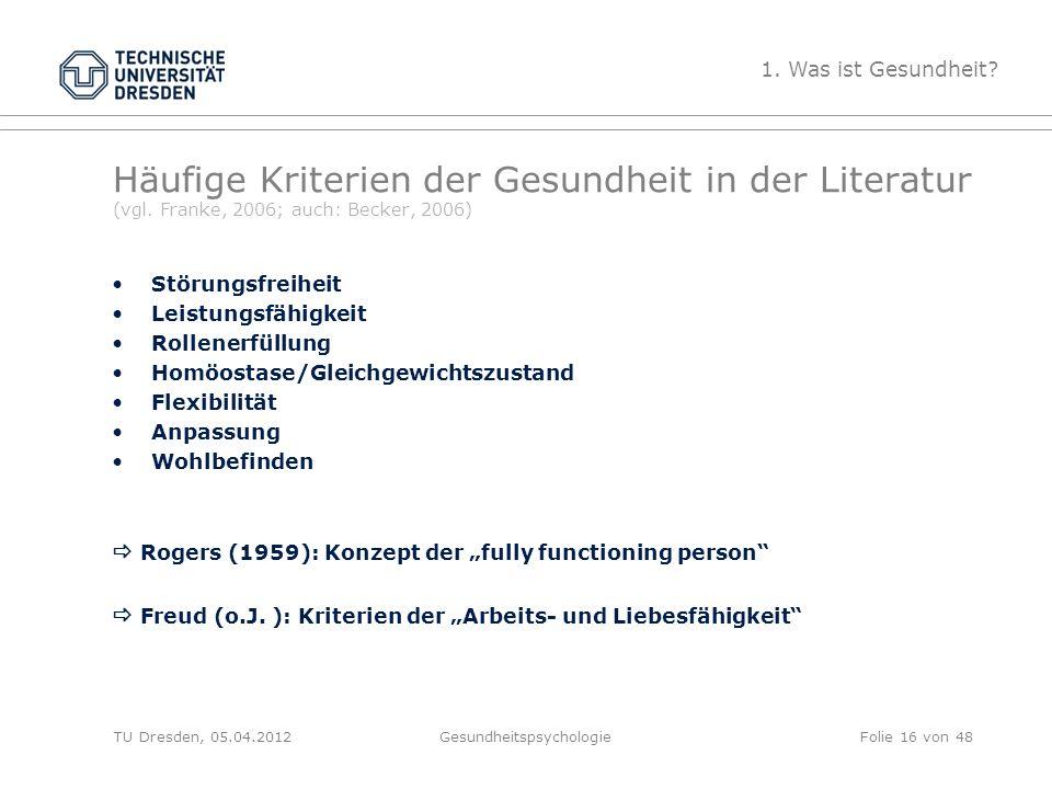 Häufige Kriterien der Gesundheit in der Literatur (vgl. Franke, 2006; auch: Becker, 2006) Störungsfreiheit Leistungsfähigkeit Rollenerfüllung Homöosta