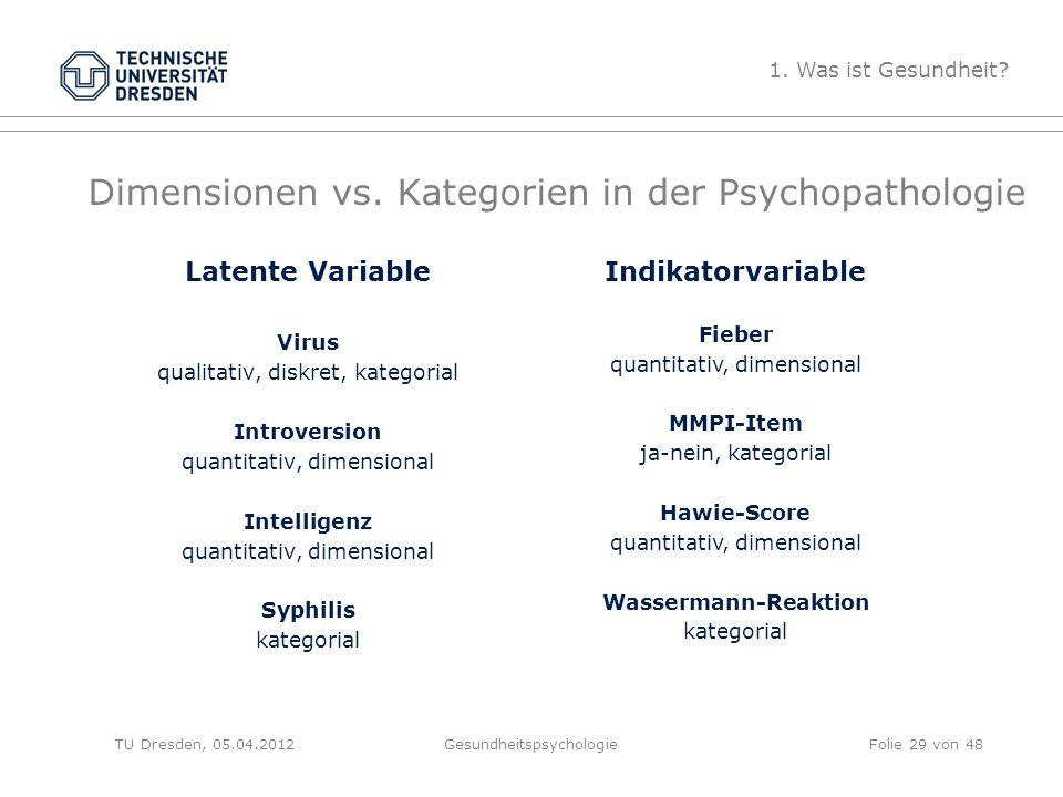 Dimensionen vs. Kategorien in der Psychopathologie Latente Variable Virus qualitativ, diskret, kategorial Introversion quantitativ, dimensional Intell