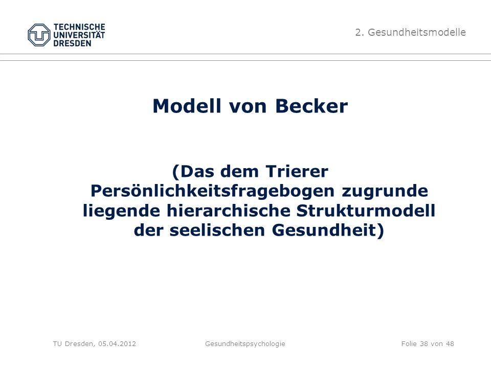 Modell von Becker (Das dem Trierer Persönlichkeitsfragebogen zugrunde liegende hierarchische Strukturmodell der seelischen Gesundheit) TU Dresden, 05.04.2012Gesundheitspsychologie 2.