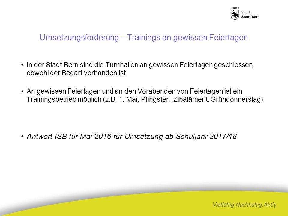 Umsetzungsforderung – Trainings an gewissen Feiertagen In der Stadt Bern sind die Turnhallen an gewissen Feiertagen geschlossen, obwohl der Bedarf vorhanden ist An gewissen Feiertagen und an den Vorabenden von Feiertagen ist ein Trainingsbetrieb möglich (z.B.