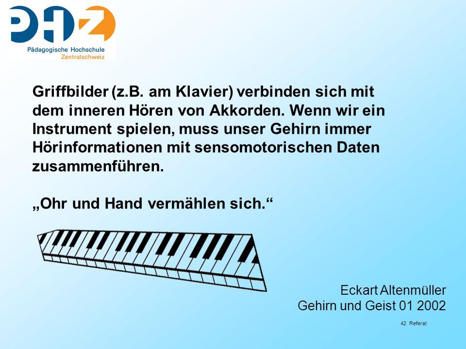 42 Referat Griffbilder (z.B. am Klavier) verbinden sich mit dem inneren Hören von Akkorden. Wenn wir ein Instrument spielen, muss unser Gehirn immer H