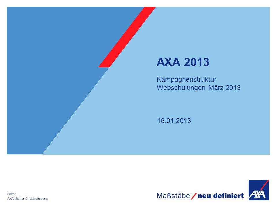 16.01.2013 AXA Makler-Direktbetreuung Seite 1 AXA 2013 Kampagnenstruktur Webschulungen März 2013