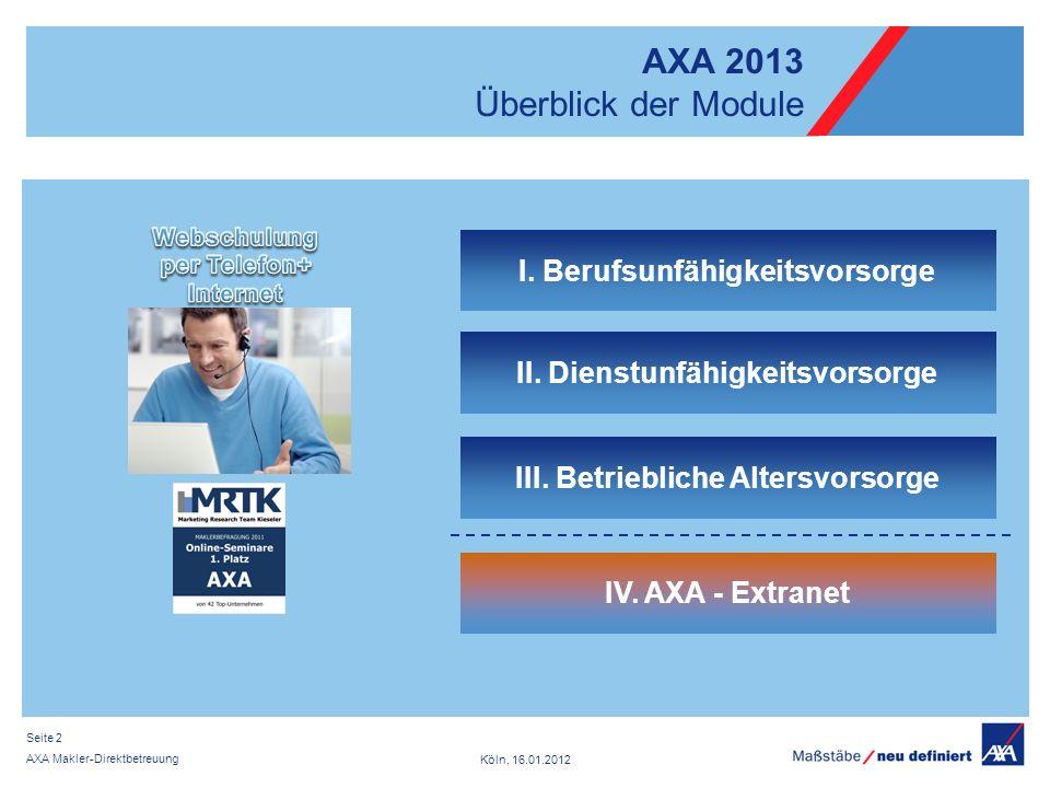 Köln, 16.01.2012 AXA Makler-Direktbetreuung Seite 2 III.