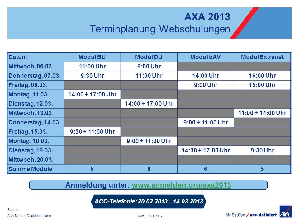 Köln, 16.01.2012 AXA Makler-Direktbetreuung Seite 4 AXA 2013 Terminplanung Webschulungen DatumModul BUModul DUModul bAVModul Extranet Mittwoch, 06.03.